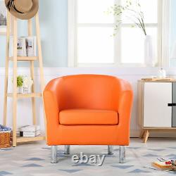Premium Orange Leather Tub Chair Armchair Dining Living Room Office Reception
