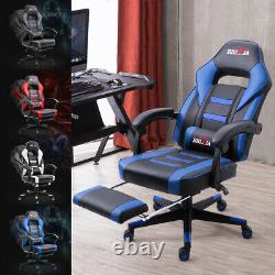 Pro Reclining Sports Racing Gaming Office Desk Pc Car Leather Chair Uk Stock