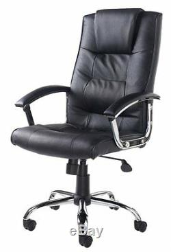 Quality Black Upholstered Luxury Real Bonded Leather Executive / Managers Chair