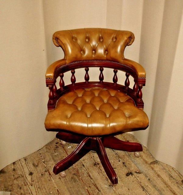 Quality Tan Leather Chesterfield Swivel Desk Office Chair Superb Condition
