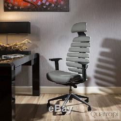 Quatropi Ergomomic Luxury Morphorlogical Grey Leather Office Chair New