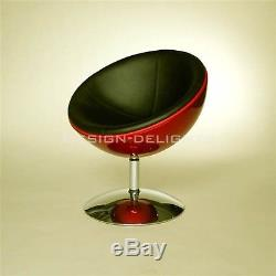RETRO BOWL CHAIR white-black swivel armchair, lounge design, space age