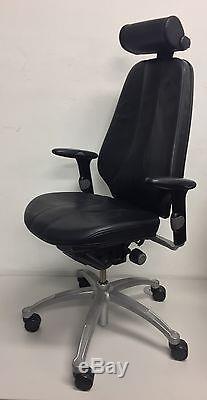 RH Logic 400 Ergonomic Orthopaedic Black Leather High-Back Office Chair Neckrest