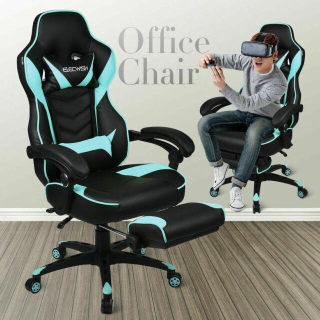 Racing Car Gaming Chair Adjustable Recliner Swivel Pu Leather Office Desk Seat
