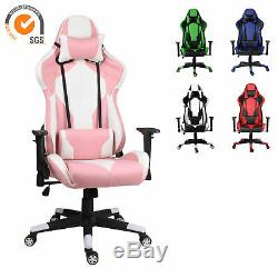 Racing Chair Gaming Computer Seat Adjustable Swivel Recliner Leather Office