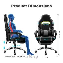 Racing Computer Executive Gaming Chair Massage High Back Footrest Office Seat