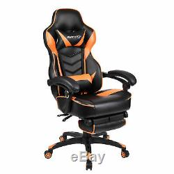 Racing Gaming Chair Office Computer Task Leather Seat High Back Swivel Footrest