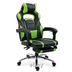 Racing Gaming Chair PU Leather Recliner Swivel Office Chair with Footrest Green