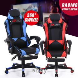 Racing Gaming Chair PU Leather Reclining Chair Swivel Office Chair with Footrest
