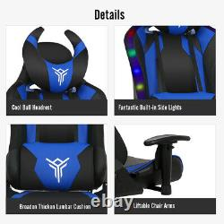 Racing Gaming Chair Swivel Leather Computer Desk Office Chair with RGB LED Light