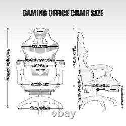 Racing Gaming Computer Office Chair Adjust Swivel Recliner Leather withFootrest UK