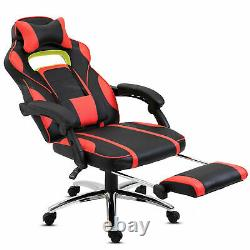 Racing Gaming Computer Office Chair PU Leather Adjustable Swivel Armrest Seat