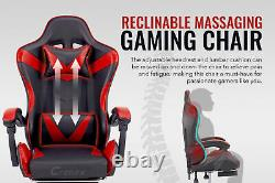 Racing Reclining Desk Office Computer Gaming Massage Chair Red With Footrest