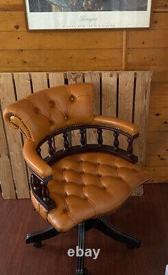 Rare Orange Leather Chesterfield Captains office desk Chair