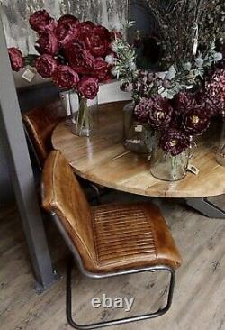 Real Genuine Leather Ribbed Brown Tan Dining Desk Office Occasional Billy Chair
