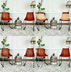 Real Leather Industrial Chairs Set 2 Vintage Retro Dining Seats Kitchen Office