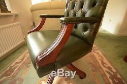 Real Leather Office Chair Green Chesterfield Design With Mahogany Swivel Base