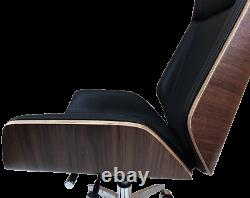 Real Leather Office Chair Walnut Wood Black Leather Next working day delivery