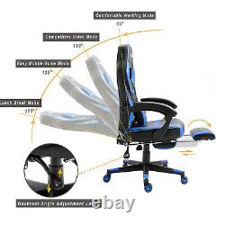Reclining Leather Sports Racing Office Desk Chair Gaming Blue With Footrest Uk