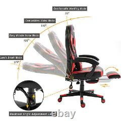 Reclining Leather Sports Racing Office Desk Chair Gaming Red With Footrest Uk