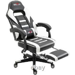 Reclining Leather Sports Racing Office Desk Chair Gaming White With Footrest Uk