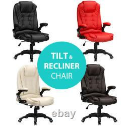 Reclining Office Chair Luxury Faux Leather Padded Swivel Computer Study RayGar