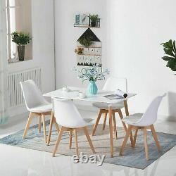Rectangle Dining Table and 4 Chairs Set Padded Seat Dining Room Lounge Office