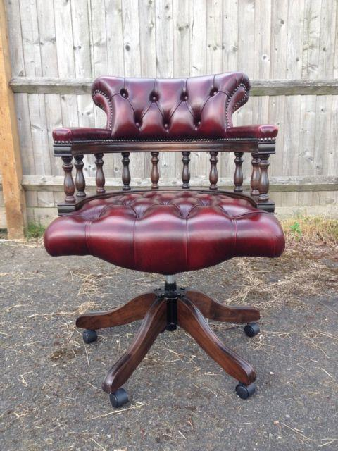 Red Leather Chesterfield Captains Chair / Office Chair / Red Oxbood Colour