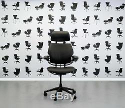 Refurbished Humanscale Freedom High Back Task Chair Newmarket Black Leather