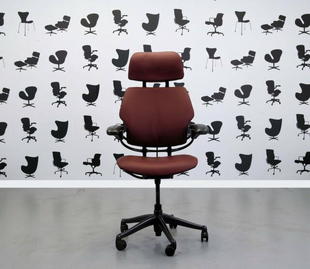 Refurbished Humanscale Freedom High Back Task Chair Newmarket Wine Leather