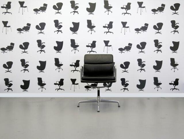 Refurbished Vitra Charles Eames Ea208 Office Chair Black Leather And Polish