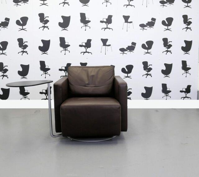 Refurbished Walter Knoll Else Brown Leather Arm Chair With Side Table Chrom
