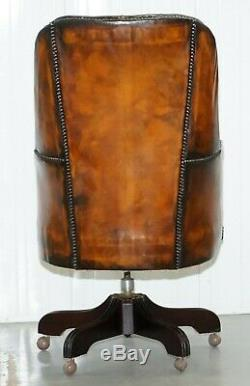 Restored 1960's Chesterfield High Back Brown Leather Directors Captains Chair A1