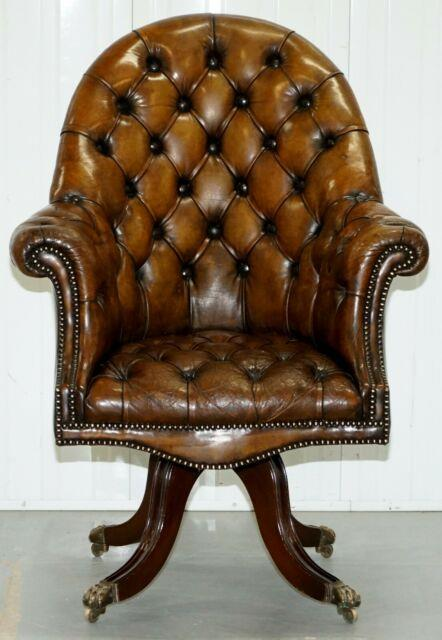 Restored Victorian Chesterfield Barrel Brown Leather Directors Captains Chair