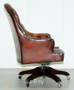 Restored Vintage Chesterfield High Back Brown Leather Directors Captains Chair