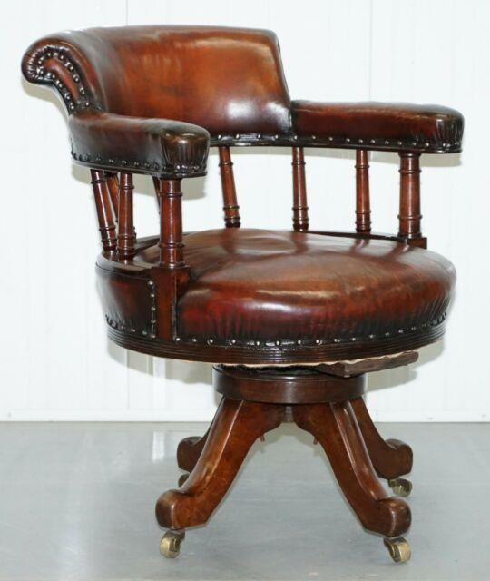 Restored Walnut Hand Dyed Cigar Brown Leather Victorian Captains Office Chair