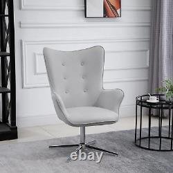 Retro Accent Armchair Grey Tufted Swivel Home Office Chair PU Leather Padded