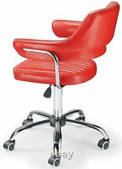 Retro Desk Chair Vintage Swivel Computer PC Office Armchair Red Eco Leather NEW