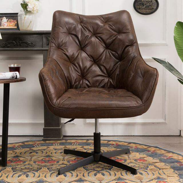 Retro Distressed Leather Computer Chair Pu Office Chair Leisure Armchair Swivel
