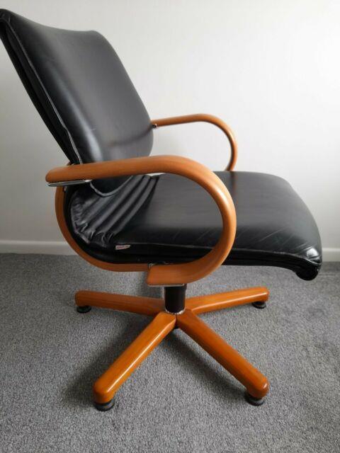 Retro Haworth Comforto Swivel Office Desk Chair Black Leather & Wood Vintage
