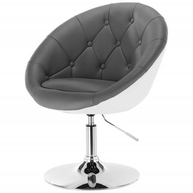 Retro Leather Armchair Lounge Chair Swivel Tub Living Waiting Room Office Seat