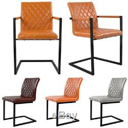 Retro PU Leather Cantilever Industrial Dining Carver Side Chairs Arm Chair Seat