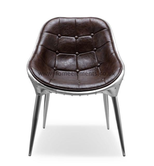 Retro Vintage Brown Bicast Leather Aviation Kitchen Dinning Office Chair