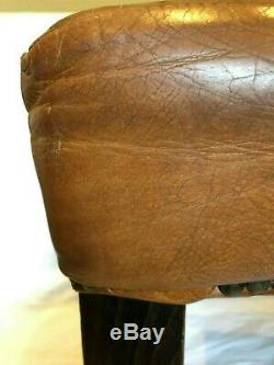 Retro Vintage Brown Leather Studded Hall Bedroom Office Chair