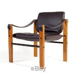 Retro Vintage Danish Arkana Beech Leather Safari Lounge Chair Armchair 50s 60s
