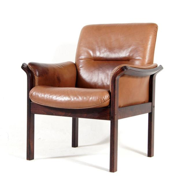 Retro Vintage Danish Modern Rosewood & Leather Side Easy Chair Armchair 60s 70s