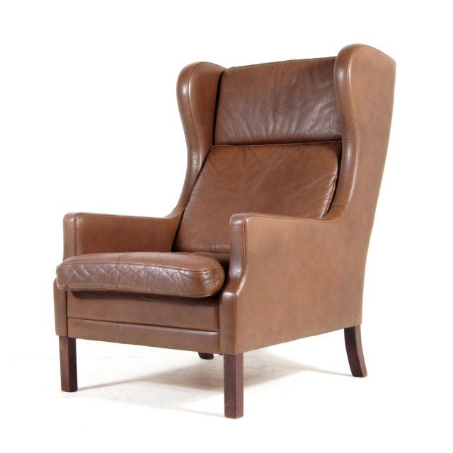 Retro Vintage Danish Rosewood & Leather Wing Back Chair Armchair 70s Mogensen