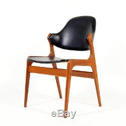 Retro Vintage Danish Teak & Faux Leather Desk Office Side Chair Armchair 50s 60s