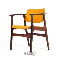 Retro Vintage Danish Teak & Wool Leather Desk Office Side Chair Armchair 50s 60s