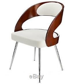 Retro Vintage Dining Office Lounge Chair Designer Metal Wood PU Leather Seat NEW